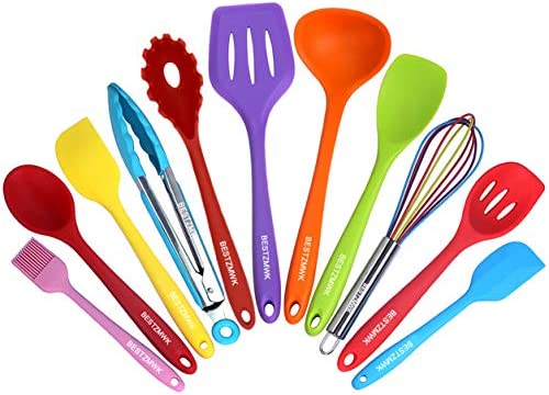 Kitchen Utensil Set – 11 Cooking Utensils – Colorful Silicone Kitchen Utensils – Nonstick Cookware with Spatula Set – Colored Best Kitchen Tools Kitchen Gadgets