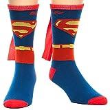 DC Comics Men's Superman Costume Crew Sock With Cape, Blue, Sock Size:10-13/Shoe Size: 6-12