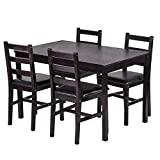 BestMassage Dining Table Set Kitchen Dining Table Set Wood Table and Chairs Set Kitchen Table and Chairs for 4 Person
