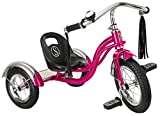 Schwinn Roadster Tricycle with Classic Bicycle Bell and Handlebar Tassels, Featuring Retro Steel Frame and Adjustable Seat, for Children and Kids Ages 2-4 Years Old, Bright Pink