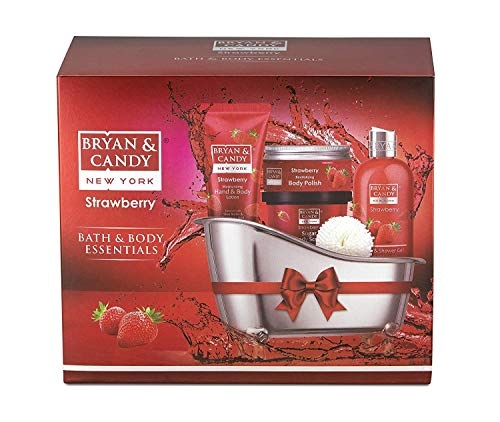 51 3joEr%2B7L Bryan & Candy New York Strawberry Bath Tub Kit for Complete Home Spa Experience (Shower Gel, Hand & Body Lotion, Sugar Scrub, Body Polish)