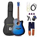 Electric Acoustic Guitar, 41 inch Full Size Blue Guitar Acoustic-Electric Cutaway Folk Acoustic Guitar for Beginner Kit, by Vangoa
