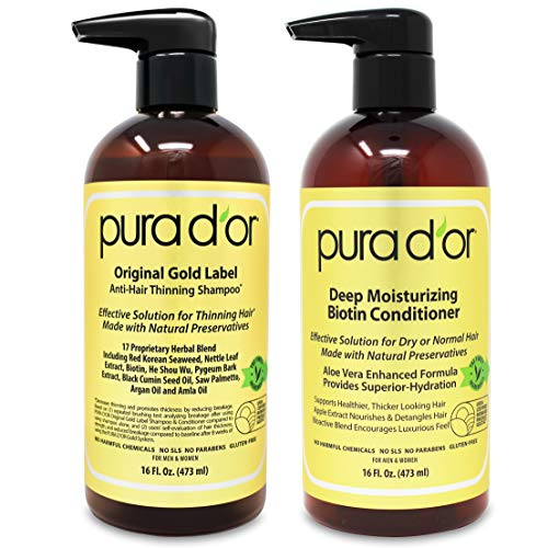 PURA D'OR Biotin Original Gold Label Anti-Thinning Shampoo & Conditioner Set, Clinically Tested Effective Solution, Herbal DHT Ingredients, All Hair Types, Men & Women