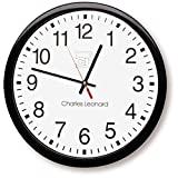 Charles Leonard Wall Clock, 14 Inch Thinline Quartz with 12 Inch Dial, Black/White (76820)