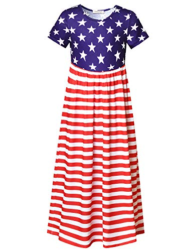 Perfashion Maxi Dress for Toddler Girls 4th July America Flag Summer Cotton Short Sleeve