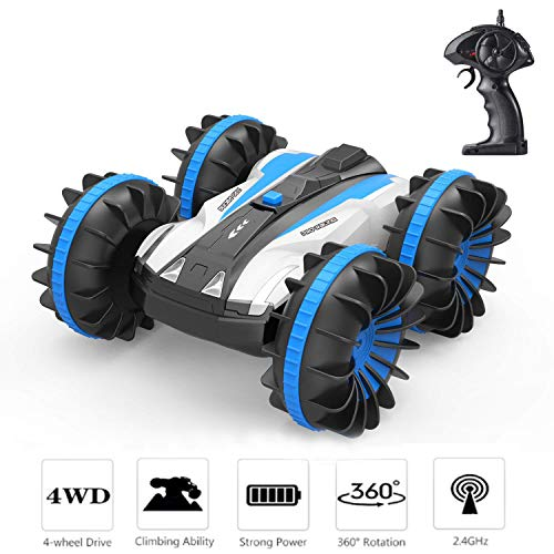 UooMay RC Car Remote Control Car - Amphibious 4WD Drive 1/18 Scale High Speed Off Road Vehicle 2.4GHz,Rotate 360 Degree Double Sided Race Snow Waterproof RC Trucks
