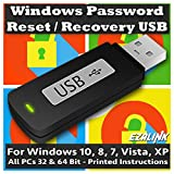 Windows Password Reset Recovery USB for Windows 10, 8.1, 7, Vista, XP   #1 Best Unlocker Software Tool {For Any PC Computer}