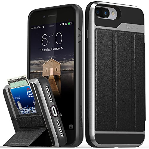 iPhone 8 Plus/ iPhone 7 Plus Wallet Case, Vena[vCommute][Military Grade Drop Protection]Flip Leather Cover Card Slot Holder with KickStand for Apple iPhone 8 plus / iPhone 7 plus (Space Gray/Black)