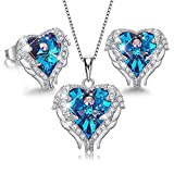 CDE Sterling Silver Christmas Jewelry Sets for Women Heart Necklaces and Earrings Crystals from Swarovski Blue Jewel Thanksgiving Gifts for Women