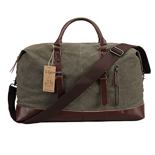 Ulgoo Travel Duffel Bag Canvas Bag PU Leather Weekend Bag Overnight (Amy Green)