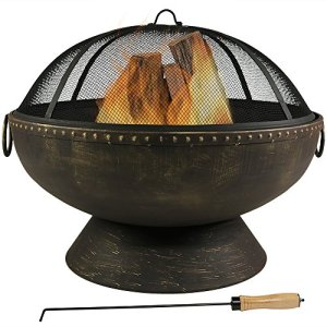 Sunnydaze Outdoor Fire Pit Bowl - 30 Inch Large Round Wood Burning Patio & Backyard Firepit for Outside with Spark… 11