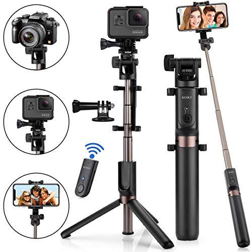 Selfie Stick Bluetooth, KUSKY 4-in-1...