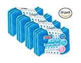 Scouring Pads 'S Shape' -24 Pack- Heavy Duty Dish Washing Scour Scrubbers Shaped for More Comfortable Grip and Handling - Blue - by Scrub-It