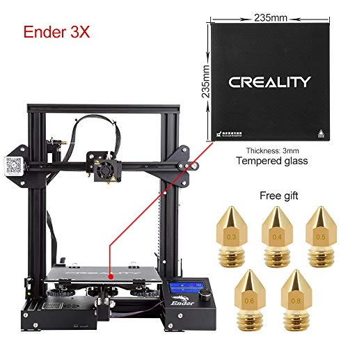 Upgrade Creality Ender 3 3D Printer with Tempered Glass Plate and Five Free Nozzles Build Volume 220x220x250mm