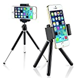 Insten Universal Portable and Adjustable 360 Swivel Tripod Stand Holder For iPhone XS/XS Max/XR/8/8 Plus/X/7/7 Plus/6S, LG G5; Samsung Galaxy On5/S7/S9/S9+/S7 Edge/Note 9 /Cell Phone/Camera, Black
