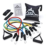 Black Mountain Products Resistance Band Set with Door Anchor, Ankle Strap, Exercise Chart, and Carrying Case