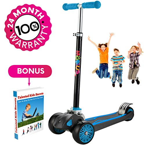 Scooter For Kids, Maxi Foldable Kick Scooter Deluxe, handlebars adjustability from age 5-12, Surface-safety Balance Technology, 2'widthX3 Wheels, 24 Months Guarantee, eBookGift 'Talented Kids Secrets'