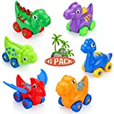 VATOS Baby Toy Dinosaur Car, 6 Pack Pull Back Car Toys for 1 2 3 Year Old Boy & Girl | Dino Car Toys for Toddler & Kids Toy Car Creative Gifts for Kids, Animal Vehicles Party Favors