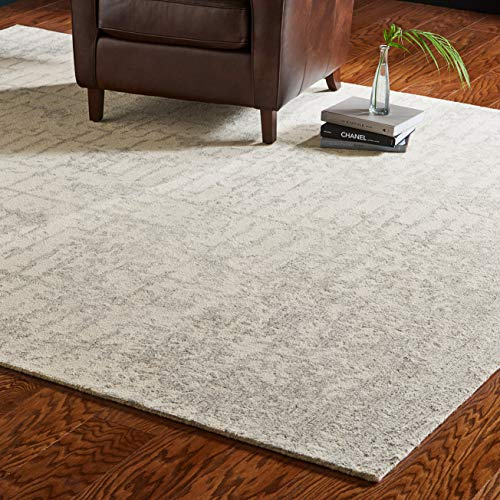 Rivet Contemporary Linear Distressed Wool Area Rug, 8 x 10 Foot, Grey