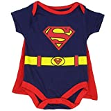 "Superman Infant Baby Boys ""Creeper Onesie Bodysuit Snapsuit"" With Cape (0-3 mo., Navy Blue)"