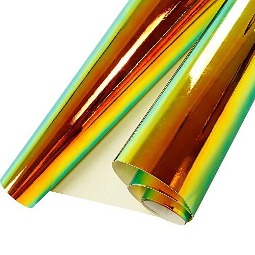 HOHO Holographic Rainbow Neo Chrome Car Vinyl Wrap Bubble Free Sticker Film 54'x20' (Black)