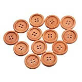 """HOUSWEETY 50PCs Light Coffee 4 Holes Round Wood Sewing Buttons 25mm(1"""") Dia."""