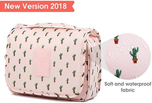Hanging Travel Toiletry Bag Cosmetic Make up Organizer for Women and Girls Waterproof (Cactus) 5