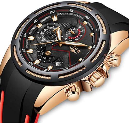 Lige Men's Watch Fashion Waterproof Silica Gel Chronograph Luxury Business Analog Quartz Watches Classic Black Belt Date Calendar Watch 2