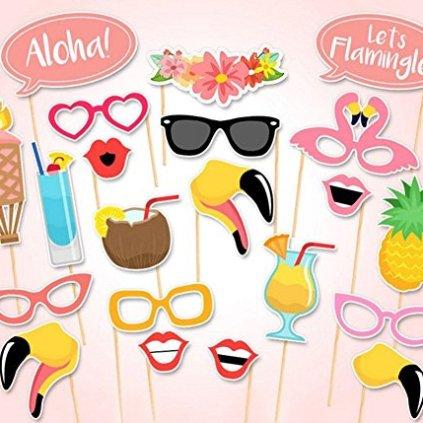 Accessoires-pour-photo-denterrement-de-vie-de-jeune-fille-Moustaches-flamants-hawaens