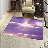Landscape small rug Carpet Sunburst on Cloudy Sky Rainy Weather Romantic View Decorating Picture Print door mat indoors Bathroom Mats Non Slip 24'x36' Purple White