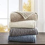Woolrich Burlington Luxury Berber Blanket Grey 6690 Twin Size  Premium Soft Cozy Soft Berber For Bed, Coach or Sofa