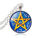 LUOR Trade Co.,Ltd Esoteric Pentagram Pendant Necklace PentacleTetragrammaton Jewelry Name of God Blessing Jewellery Wiccan Pagan Sweater Necklace (Silver Plated)