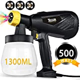 Paint Sprayer, TECCPO 500 Watts 800ml/min HVLP Home Electric Spray Gun with 1300ml Detachable Container, 3 Pcs Copper Nozzles & 3 Spray Patterns, Adjustable Valve Knob for Home Decoration & DIY