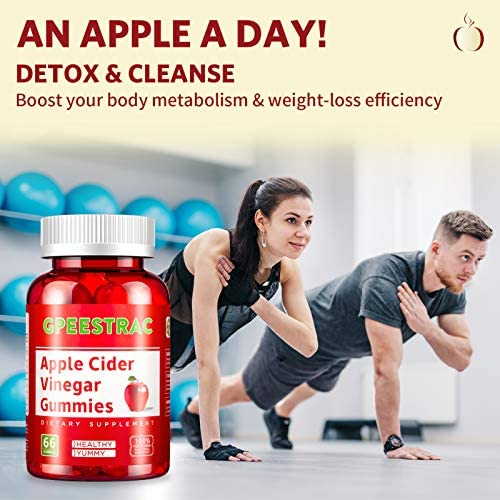Apple Cider Vinegar Gummies for Detox Cleanse Weight Loss and Immunity Support, GPEESTRAC ACV Vitamins with The Mother Raw Organic Unfiltered Vitamins B9 B12(2 Pack, 132 Gummies) 6