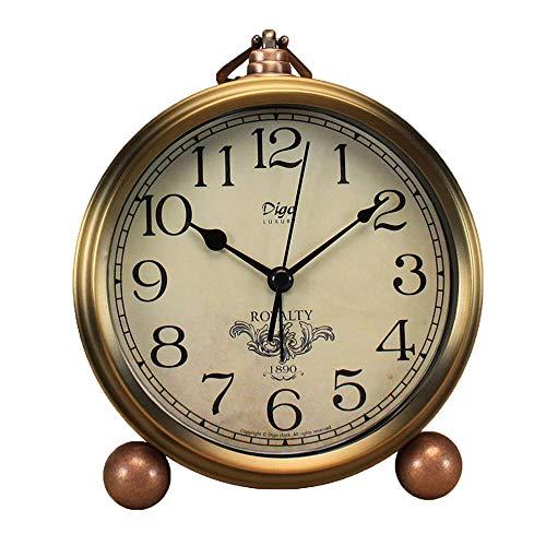 Justup Golden Table Clock, Retro Vintage Non-Ticking Table Desk Alarm Clock Battery Operated Silent Quartz Movement HD Glass for Bedroom Living Room Indoor Decoration Kids (Arabic)
