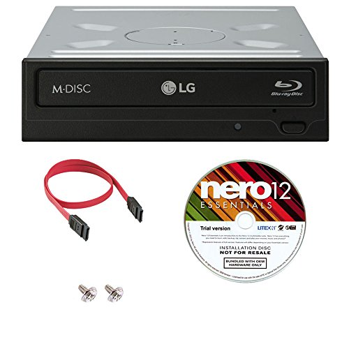 LG WH14NS40 16X Blu-ray BDXL DVD CD Internal Burner Drive Bundle with Free Nero Burning Software + SATA Cable + Mounting Screws