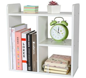 PAG Desktop Bookshelf Assembled Countertop Bookcase Wood Desk Organizer Literature Photo Display Rack, White