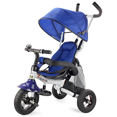 Costzon Baby Tricycle, 6-in-1 Steer Stroller, Learning Bike w/Detachable Guardrail, Adjustable Canopy, Safety Harness, Folding Pedal, Storage Bag, Brake, Shock Absorption Design, Blue