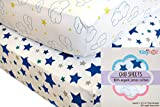 Baby Crib Sheets Boy or Girl (2 Pack) - Organic Cotton Fitted Crib Sheet Set for Baby Crib Mattress - Extra Soft, Premium Baby Nursery Bedding w/Cloud and Star Patterns - Perfect Baby Shower Gift!