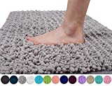 Yimobra Original Luxury Shaggy Bath Mat, Soft and Comfortable, Super Absorbent and Thick, Non-Slip, Machine Washable, Perfect for Bathroom Bedroom (31.5 X 19.8 Inches, Gray)