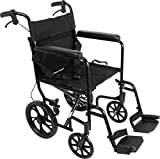 ProBasics Aluminum Transport Wheelchair With 19 Inch Seat - Foldable Wheel Chair For Transporting And Storage - 12-inch Rear Wheels For Smoother Ride, 300 LB Weight Capacity