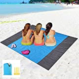 Eastjing 79' x 57' Sand Free Beach Blanket Water Resistant & Sand Proof Beach Mat, Soft 70D Ripstop Nylon Pocket Picnic Blanket with 4 Stakes for Travel, Camping, Hiking and Music Festivals