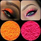 """New Eyeshadow Pigment Myo Ultra Bright Matte """"Ultra Bright Pink"""" & """"Ultra Bright Orange"""" Mica Cosmetic Mineral Makeup 3 Gram Small Size (Prep eyelids with a base primer before applying pigment.)"""