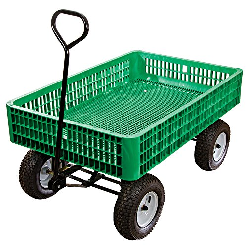 A.M. Leonard Green Utility Wagon with Flat-Free Tires - 30 x 46 x 7.5 Inch Tray