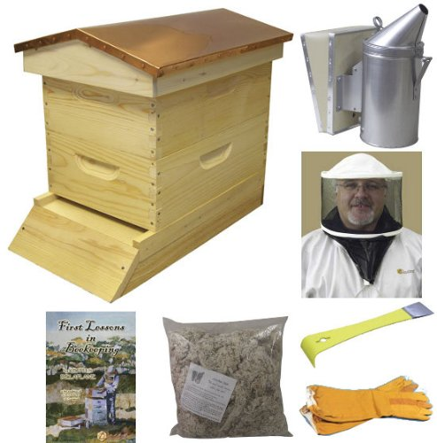 Bee Hive - Garden Hive Bee Hive Starter Kit (Fully Assembled - Wood) with Beekeeping Supplies - Perfect Copper Top Beehives for Beginners and Pro Beekeepers - Beekeeper Kits for Honey Bees