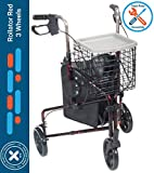 Rollator Walker for Seniors 3 Wheel Rolling Walker, All Terrain 8' Wheels, Includes Convenience Bag, Basket and Tray, Flame Red