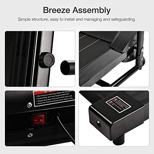 Murtisol 1100W Folding Treadmill Good for Home/Apartment Fitness Compact Electric Running Exercise Machine with Safe Handlebar 3