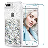 Maxdara iPhone 8 Plus Case, iPhone 7 Plus Glitter Liquid Case [Tempered Glass Screen Protector] Floating Bling Sparkle Luxury Pretty Girls Women Case for iPhone 6 Plus/6s Plus/7 Plus/8 Plus (Silver)