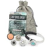 Snap Savage Jewelry Women's Multi Charm Bangle Bracelet - Versatile Any Occasion / 5 in 1 Set