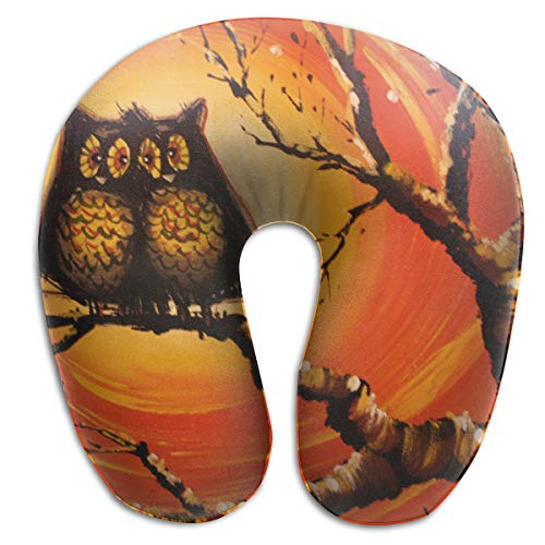 FANTASY SPACE Neck Pillow Travel Pillow Owl Love Oil Paint Compact Pillow Neck-Supportive Plane Pillows, Breathable & Comfortable, Home Car Train Neck Pillow